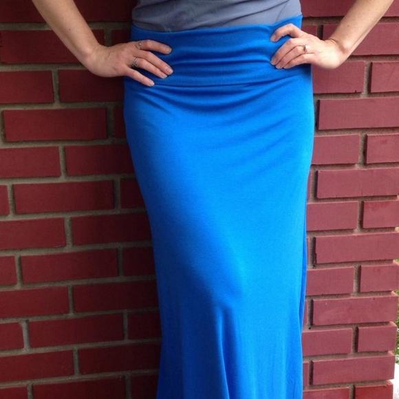 Etsy/June Designs Clothing Dresses & Skirts - Brand New Blue Bamboo Cotton Lycra Maxi Skirt